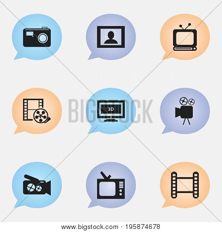 Set Of 9 Editable Filming Icons. Includes Symbols Such As Movie Strip, Photographing, Camera Tape And More