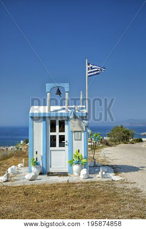 Little chapel on the side of the road in Milos in Greece a cycladic island