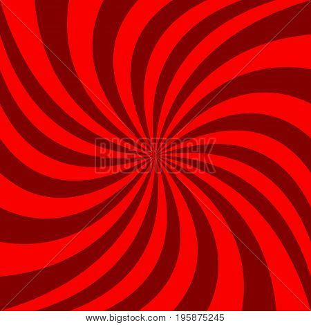 Red spiral abstract background - vector graphic design from rotated rays