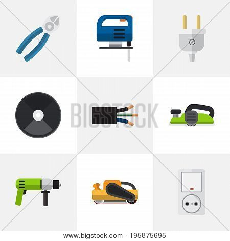 Set Of 9 Editable Electric Flat Icons. Includes Symbols Such As Jack, Wire, Jig Saw And More