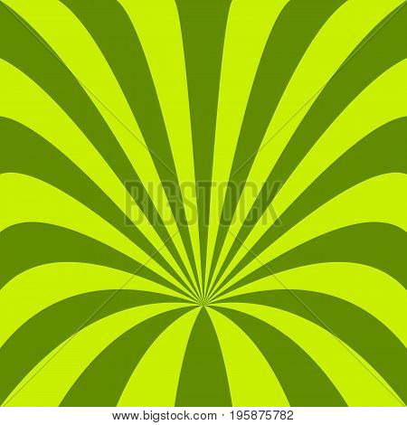 Green abstract funnel background - vector design from curved rays