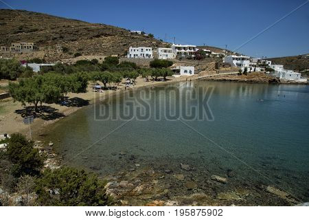 Beautiful view of Glifo beach in Faros, white cycladic village in Sifnos, Greece