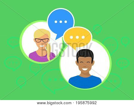 Yong happy people in circles with speech bubbles flat vector illustration of teenagers using mobile messengers for chatting and communicating. Girl and african boy on green background