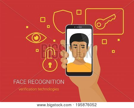 Face recognition and mobile identification. Flat vector illustration of young african man unlocking his smartphone by face recognition technology. Human hand holds mobil phone with male face on screen