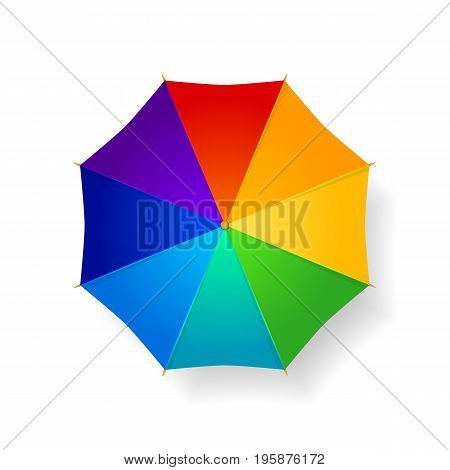 Rainbow umbrella from the top isolated on white. Vector illustration.