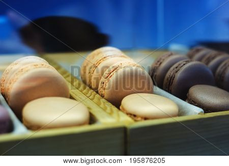 Set of different french cookies macaroons in box