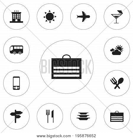 Set Of 12 Editable Travel Icons. Includes Symbols Such As Luxury Inn, Cutlery, Trading Purse And More