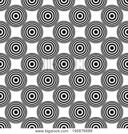 Seamless abstract monochrome concentric circle pattern background