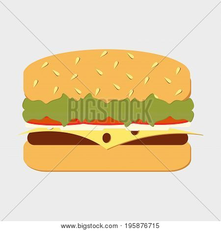 Hamburger. Classic Burger. American cheeseburger with lettuce, tomato, onion, cheese and beef. Fast Food. Vector illustration