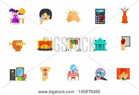 Actress icon set. Performance Powdering Clapping Palette Evening dress Oscar Stage Wardrobe Theatre Backstage Applying lipstick on lips Dressing table Makeup base Audience. Bonus icon of breast exam