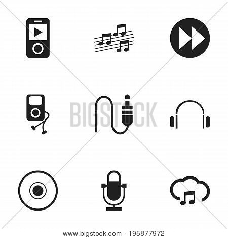 Set Of 9 Editable Mp3 Icons. Includes Symbols Such As Musical Gadget, Stereo Plug, Mp3 Player And More