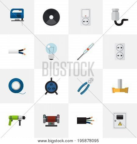 Set Of 16 Editable Electrical Flat Icons. Includes Symbols Such As Jig Saw, Orifice, Wire And More