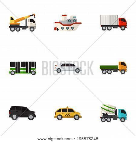 Set Of 9 Editable Car Flat Icons. Includes Symbols Such As Shipping, Cement Blender, Limousine And More