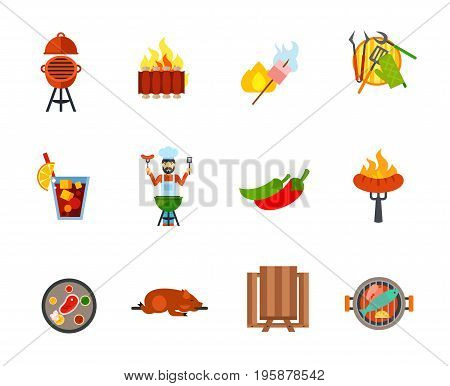 Barbecue icon set. Oven barbecue Ribs Grilled chicken drumstick Barbecue tools Man grilling Sausage in fork Steak Picnic table Grilled fish. Contains bonus icon of Cold drink Jalapeno pepper Lechon