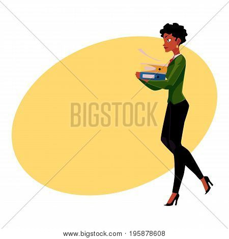 Young pretty black, African American businesswoman, woman, girl carrying heavy document folders, cartoon vector illustration with space for text. Black businesswoman with folders of documents