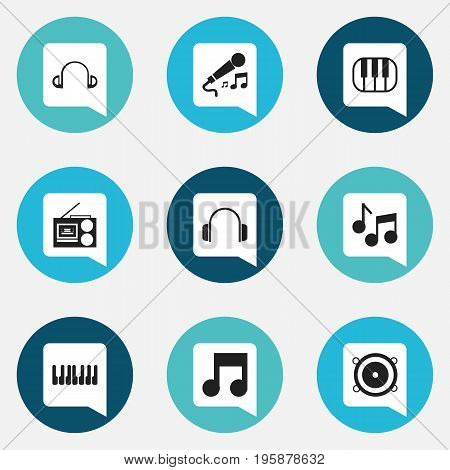 Set Of 9 Editable Media Icons. Includes Symbols Such As Musical Symbol, Octave, Piano And More