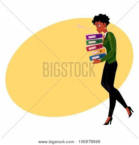 Black, African American businesswoman, woman carrying heavy pile of document folders, cartoon vector illustration with space for text. Black stressed businesswoman with folders of documents