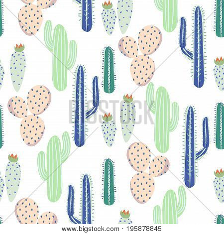 Various cacti desert vector seamless pattern. Abstract thorny mint, blue and pink color plants nature fabric print.