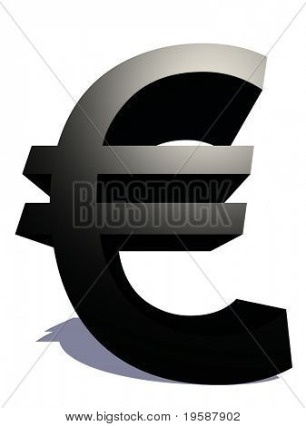 High resolution 3D black euro symbol rendered at maximum quality ideal for web,business, or conceptual designs,isolated on white background