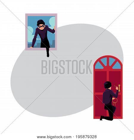 Thief, burglar breaking in house through front door and window, cartoon vector illustration with space for text. Burglar, thief breaking into house by snapping door lock, climbing in window