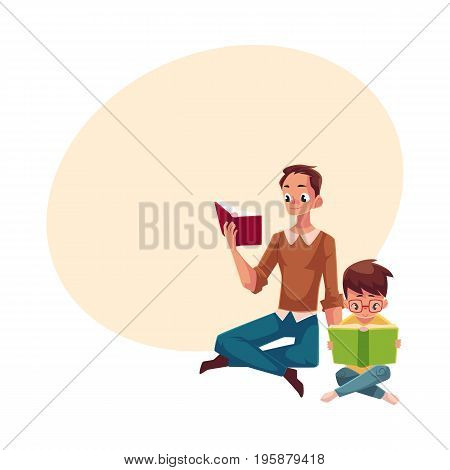 Young man and little boy reading books sitting legs crossed on the floor, cartoon vector illustration with space for text. Man and boy, father and son reading thick interesting books, sitting