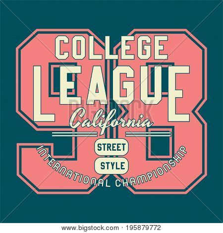 graphic design college league for shirt and print