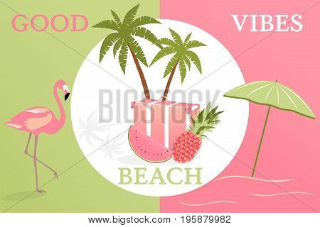 Summertime. Good vibes only with travel bag, pineapple, watermelon, flamingo and parasol in trendy watermelon colors.