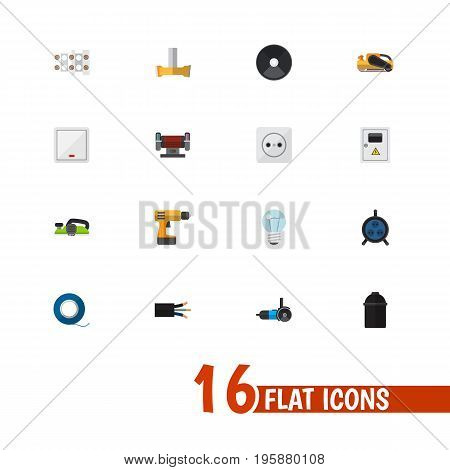 Set Of 16 Editable Electrical Flat Icons. Includes Symbols Such As Switch, Holder, Jointer And More