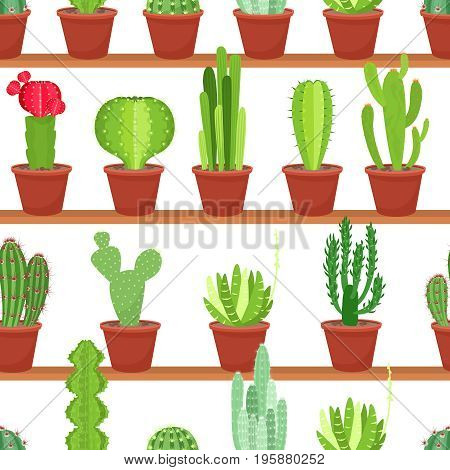 Seamless pattern of flowers pots with cacti and succulents in floral racks and shelves. Cartoon style vector background