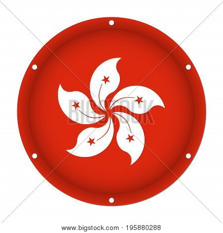 round metallic flag of Hong Kong with six screw holes in front of a white background