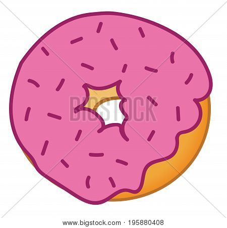 Isolated Yummy Pink Sprinkles Tasty Sweet Donut
