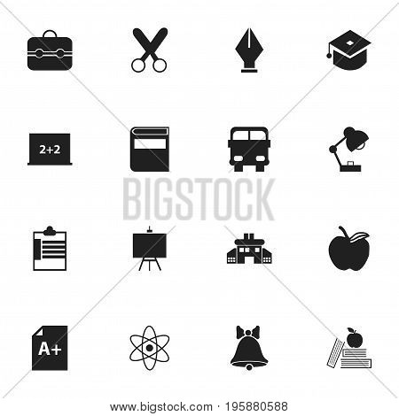 Set Of 16 Editable Knowledge Icons. Includes Symbols Such As Transport Vehicle, Lighting, Jingle And More