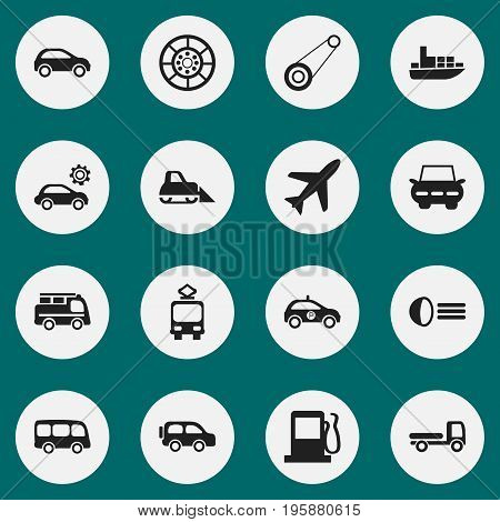 Set Of 16 Editable Transportation Icons. Includes Symbols Such As Wheel, Aircraft, Family Jeep And More