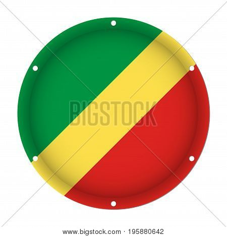 round metallic flag of Congo with six screw holes in front of a white background