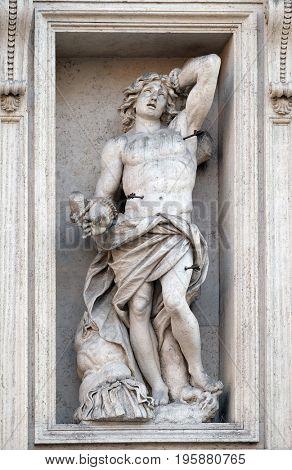 ROME, ITALY - SEPTEMBER 01: Saint Sebastian on the portal of Sant Andrea della Valle Church in Rome, Italy on September 01, 2016.