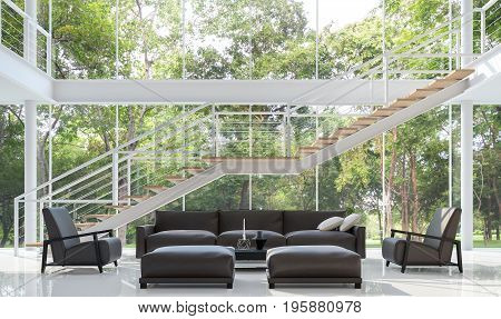 Modern white living room 3d rendering image.The room has a high ceiling A staircase is a steel structure.There are large windows look out to see the garden.furnished with dark brown leather furniture.