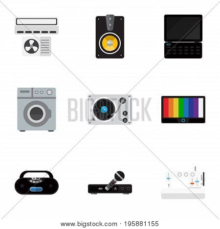 Set Of 9 Editable Technology Flat Icons. Includes Symbols Such As Laundromat, Megaphone, Notebook And More