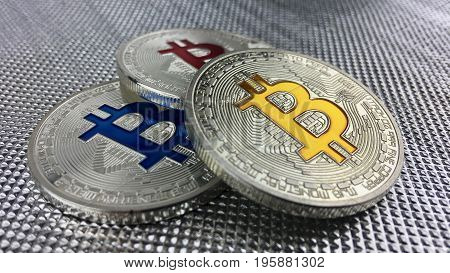 Blue Red And Yellow Bitcoin