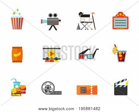 Cinema icon set. Pop corn Camera Director chair Scoreboard Cinema 3d cinema glasses Film reel Ticket Clapboard. Contains bonus icon of Potato chips Fast food Cold drink