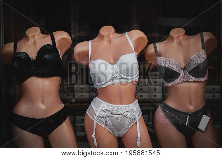 Women's clothes fashion store mannequin wearing modern stylish underwear lingerie clothing photo