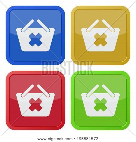 set of four square colored buttons and icons shopping basket cancel