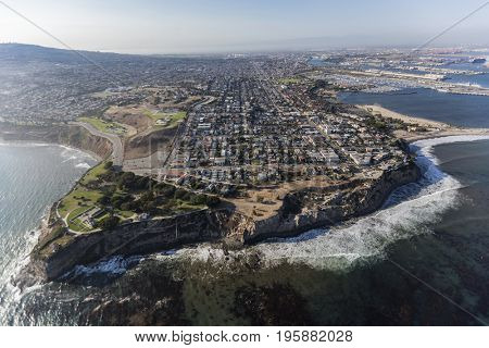 Aerial view of San Pedro and the Pacific Ocean in Los Angeles, California.