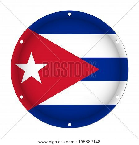 round metallic flag of Cuba with six screw holes in front of a white background