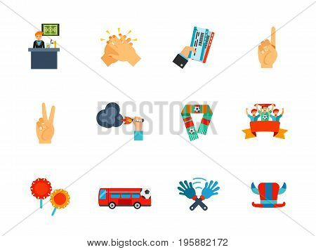 Fan icon set. Sport bar Clapping Number one gesture Number two gesture Fire Scarf Sport fans Support group attribute Fan bus Clap hand toy Hat with horns. Contains bonus icon of Holding tickets