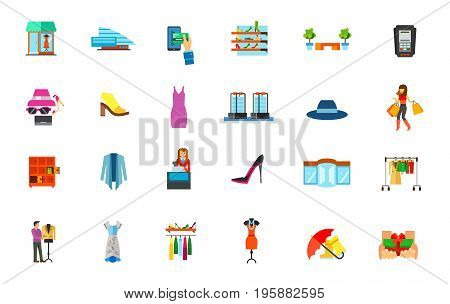 Fashion store icon set. Showcase Mall E-payment Shoe store Bench Dataphone Accessory Footwear Woman clothes Sensor gates Shopping Locker Cashier Revolving door Hanger Designer Fashion store Free gift