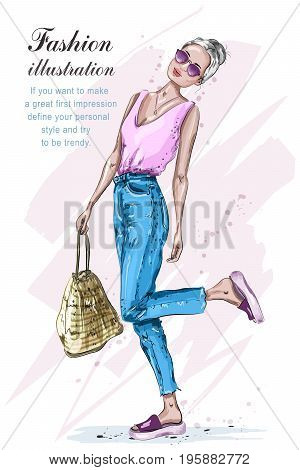 Cute stylish girl in fashion clothes. Fashion woman with bag. Hand drawn blonde hair woman. Sketch. Vector illustration.