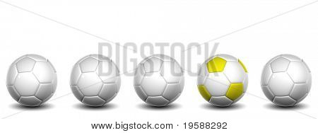 High resolution white  3D conceptual soccer balls row with one white and yellow ball standing out of the crowd, isolated on white