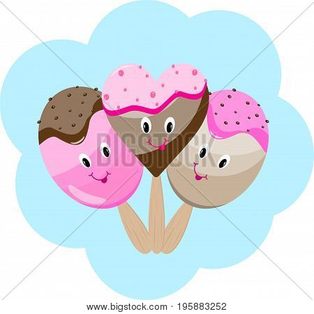 Ice cream cartoon postcard vector delicious, sundae, strawberry
