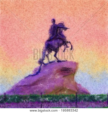 Monument of Peter the first Saint-Petersburg, Russia. Decorative illustration of bronze horseman