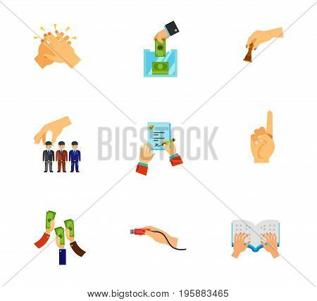 Hand gesture icon set. Clapping Donation box Playing chess Human resources Signing job contract Usb plug insert Braille book